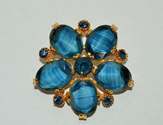 60s Blue & Gold Tone Brooch by VeryVintageClothing on Etsy, £14.00