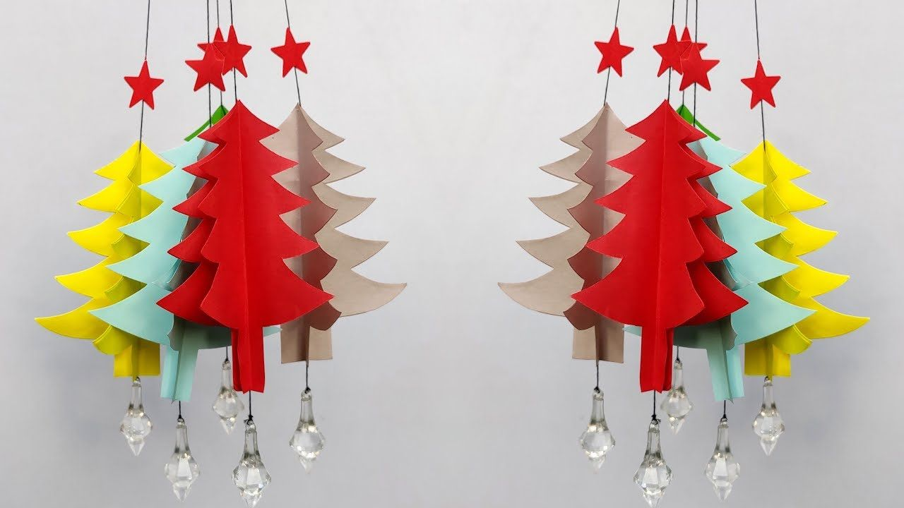 Unique And Easy Christmas Decorations Ideas Paper Wall Hanging Christma Wall Hanging Christmas Tree Easy Christmas Decorations Paper Wall Hanging
