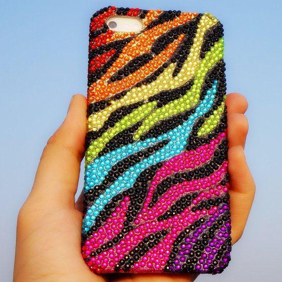 Colorful Leopard iPhone Case - Rainbow Zebra Rhinestone iPhone 4 ...