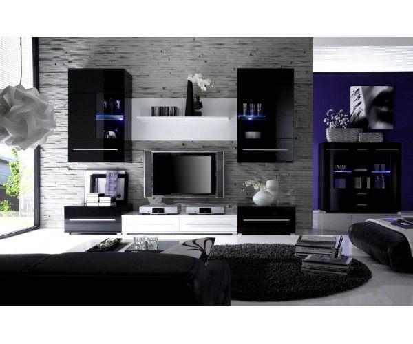 meuble salon design noir laque