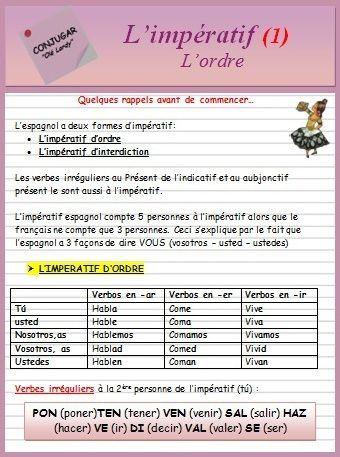 L Imperatif Ficha Ole Lardy Espagnol Apprendre Grammaire Espagnole Espagnol