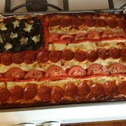 My very own American flag pizza, inspired by a pin.  - this would work for Memorial day too.