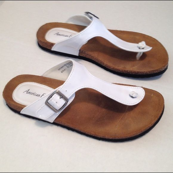 7e7fe76dfcf American Eagle thong sandals White patent leather- man made materials-  great shape and perfect for Spring which will be here before we know it  more info and ...