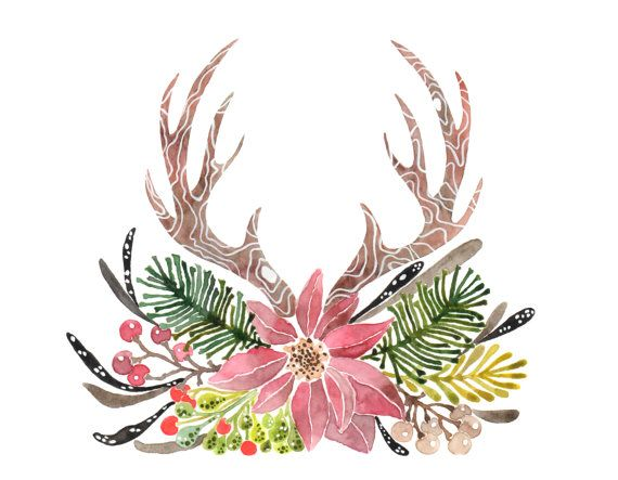 Christmas rustic. Antlers clipart watercolor clip