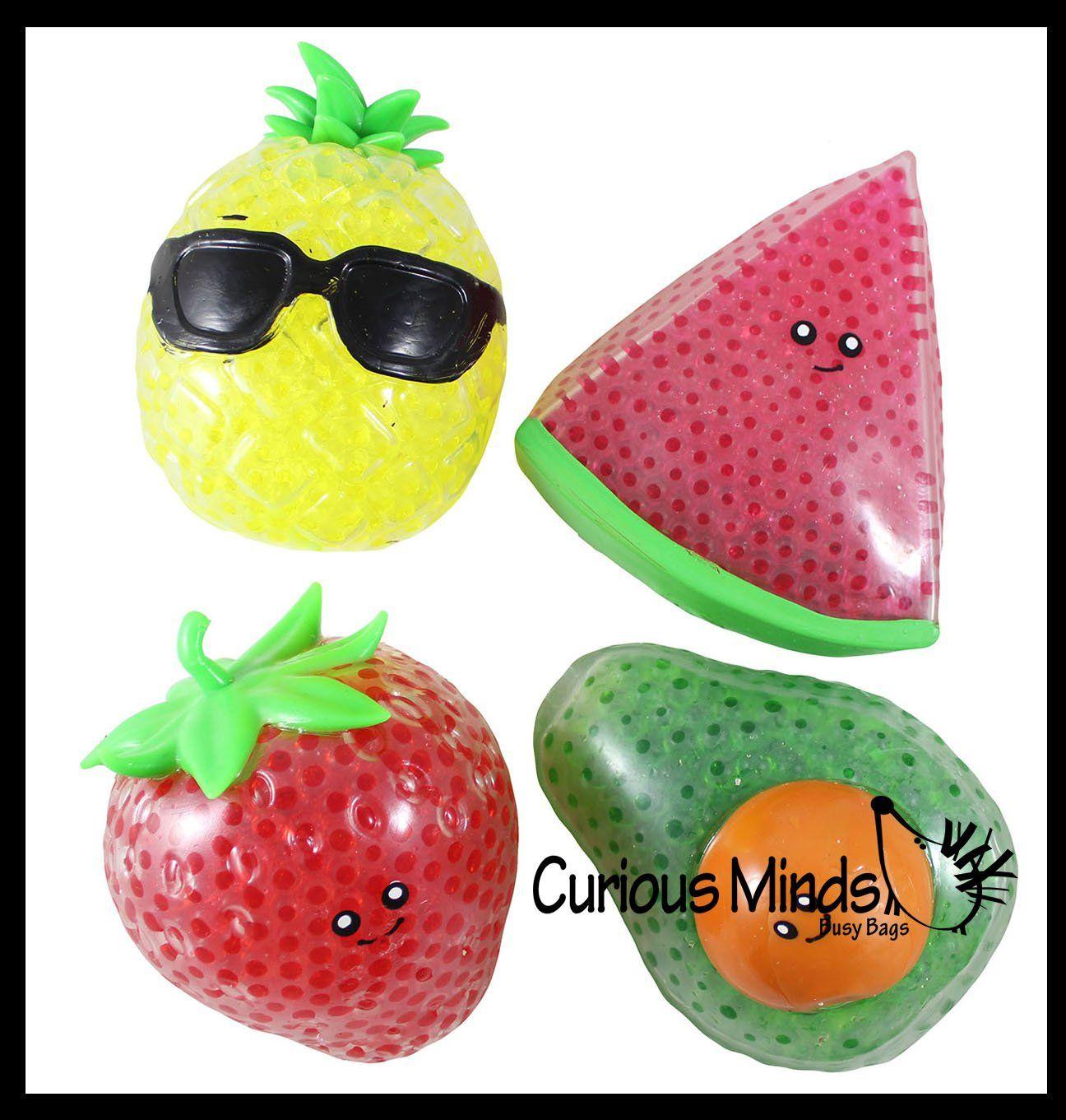 Jumbo Fruit Water Bead Filled Squeeze Stress Balls Sensory Stress Fidget Toy Pineapple Strawberry Avocado Watermelon In 2020 Stress Balls Water Beads Fruit Water