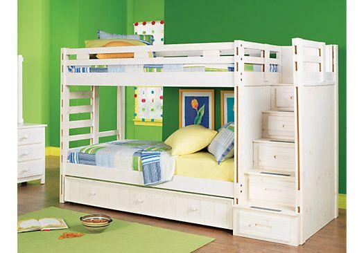 Creekside White Wash 3 Pc Twin Twin Step Bunk Bedroom Kids Bunk