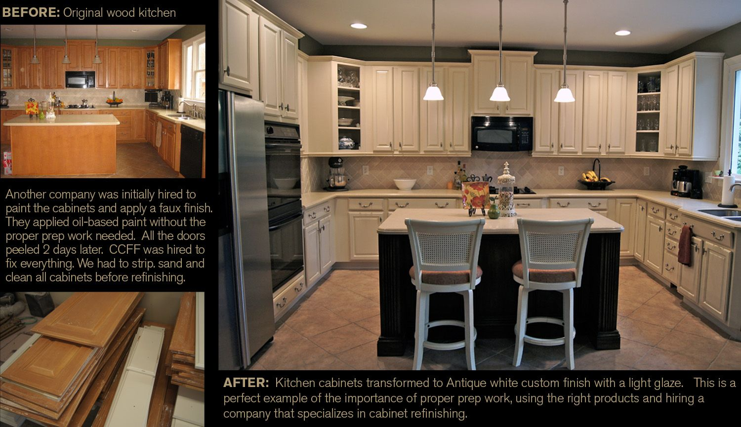 From Original Wood Cabinets To Antique White Custom Finish With A Light Glaze Another Company Was Initially Wood Cabinets Refinishing Cabinets Faux Finish