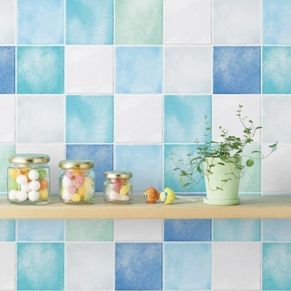 Details About Blue White Tile Look Removable Contact Self Adhesive Wallpaper Peel Stick Paper Self Adhesive Wallpaper Peel Stick Vinyl Kitchen Wallpaper