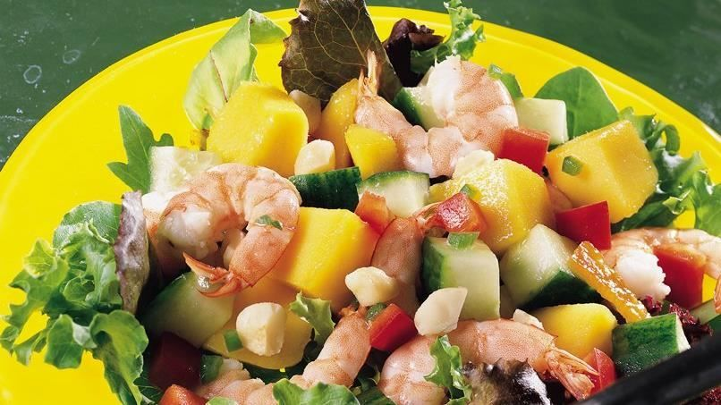 Looking for a seafood dinner? Then check out this yummy salad made with shrimp and mango that is ready in 20 minutes.