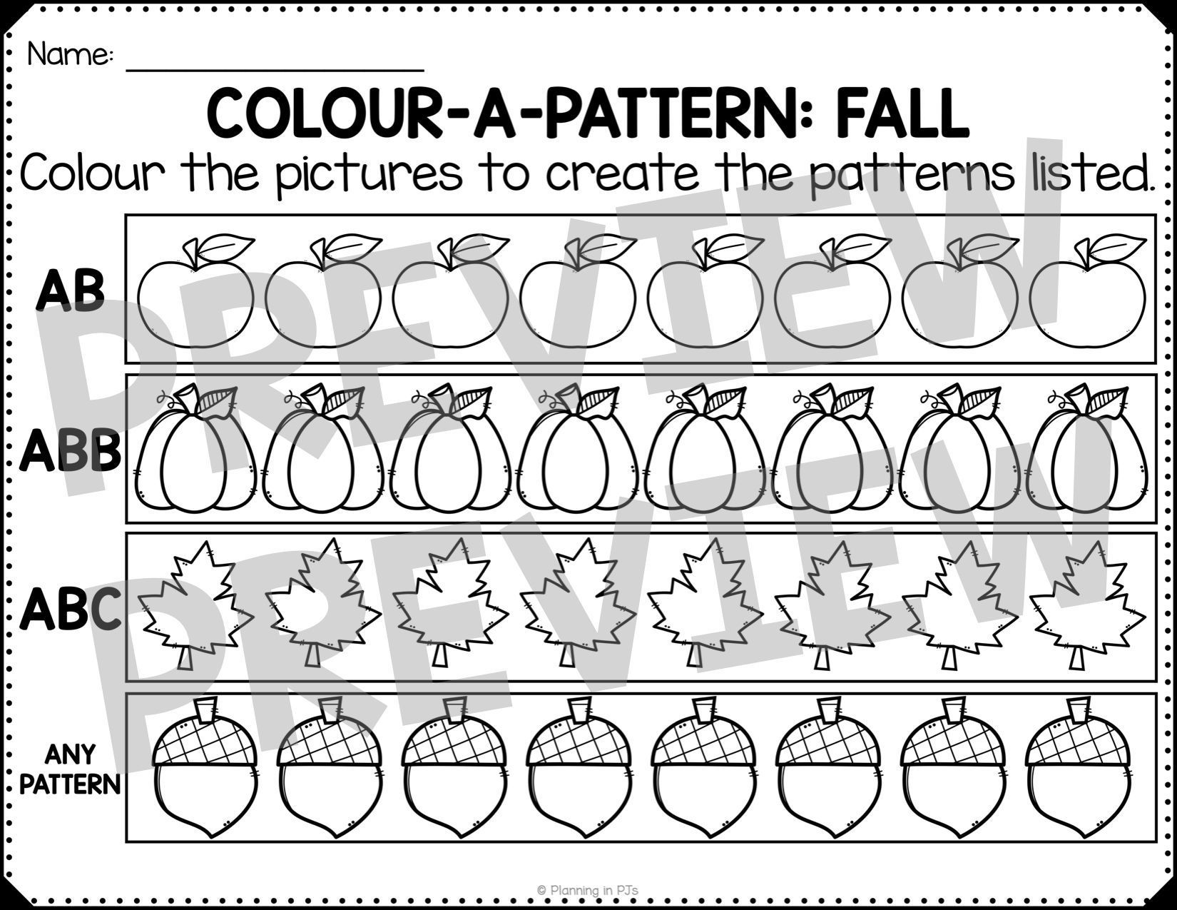 Fall Patterns Worksheets Freebie In 2020 Pattern Worksheet Fall Patterns Abc Patterns [ 1275 x 1650 Pixel ]