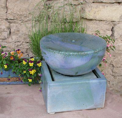 Brunnen #Quellstein ø ca 35 cm mit #Keramikbecken Glasurfarbe - brunnen garten stein