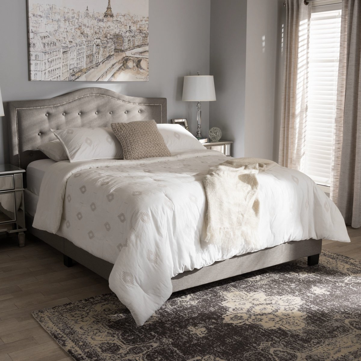 Best Baxton Studio Emerson Light Grey Queen Size Bed 640 x 480