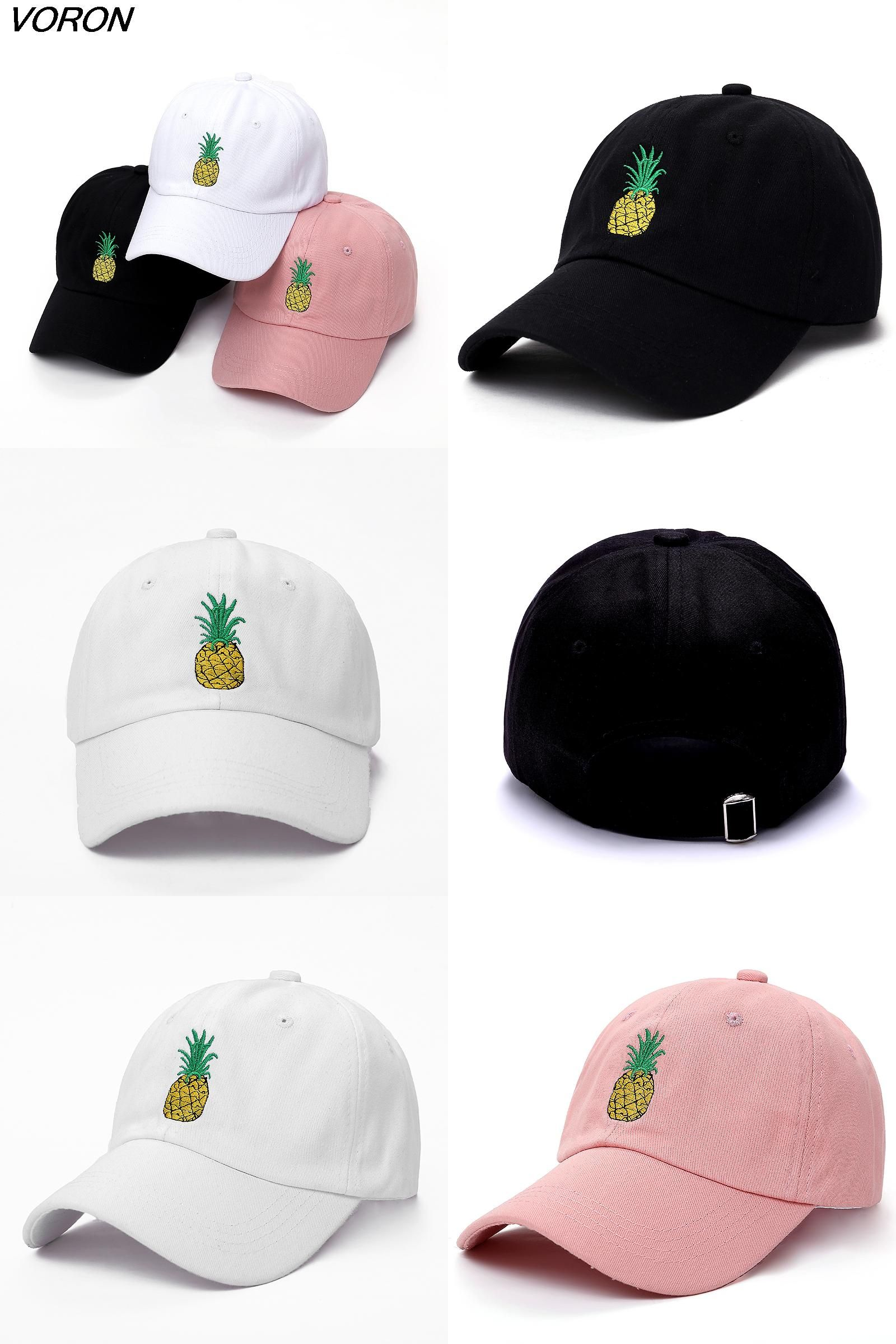 0894dbcfdc8  Visit to Buy  VORON men women Pineapple Dad Hat Baseball Cap Polo Style  Unconstructed