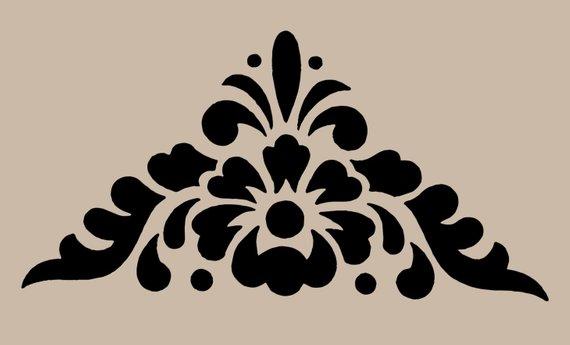 STENCIL Floral Motif Corner 10x9.7 (With images) Damask