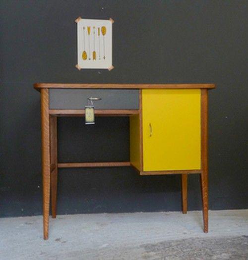 Bureau vintage ann es 50 jaune et gris paul meubles et for Meuble bureau gris