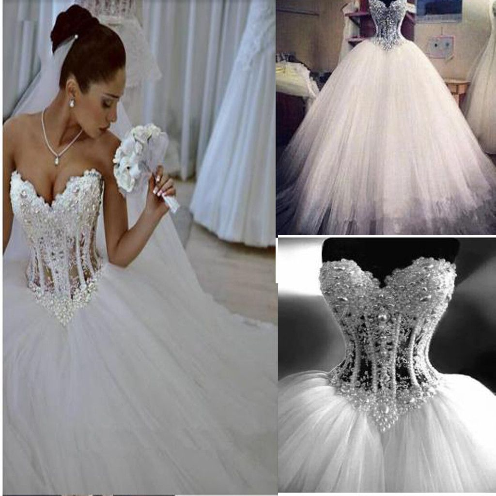 Sparkly Crystal Ball Gown Corset Wedding Dress With Beading Sweetheart Tulle Princess Bridal Ball Gown Wedding Dress Ball Gowns Wedding Wedding Dresses Corset