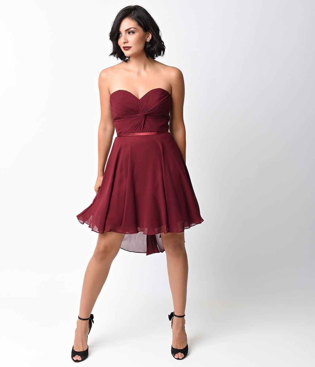 3ffa11be2ac8 Burgundy Chiffon Strapless Sweetheart Corset Short Dress | Vintage ...