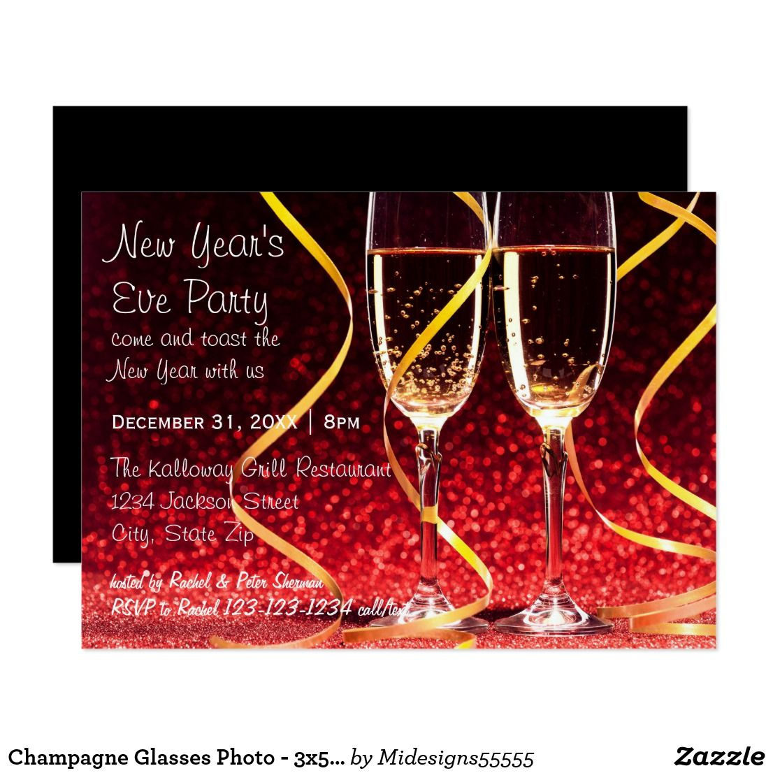 Champagne Glasses Photo 3x5 New Year S Eve Party Invitation Zazzle Com New Years Eve Party New Years Eve Invitations Photo Engagement Party Invitations