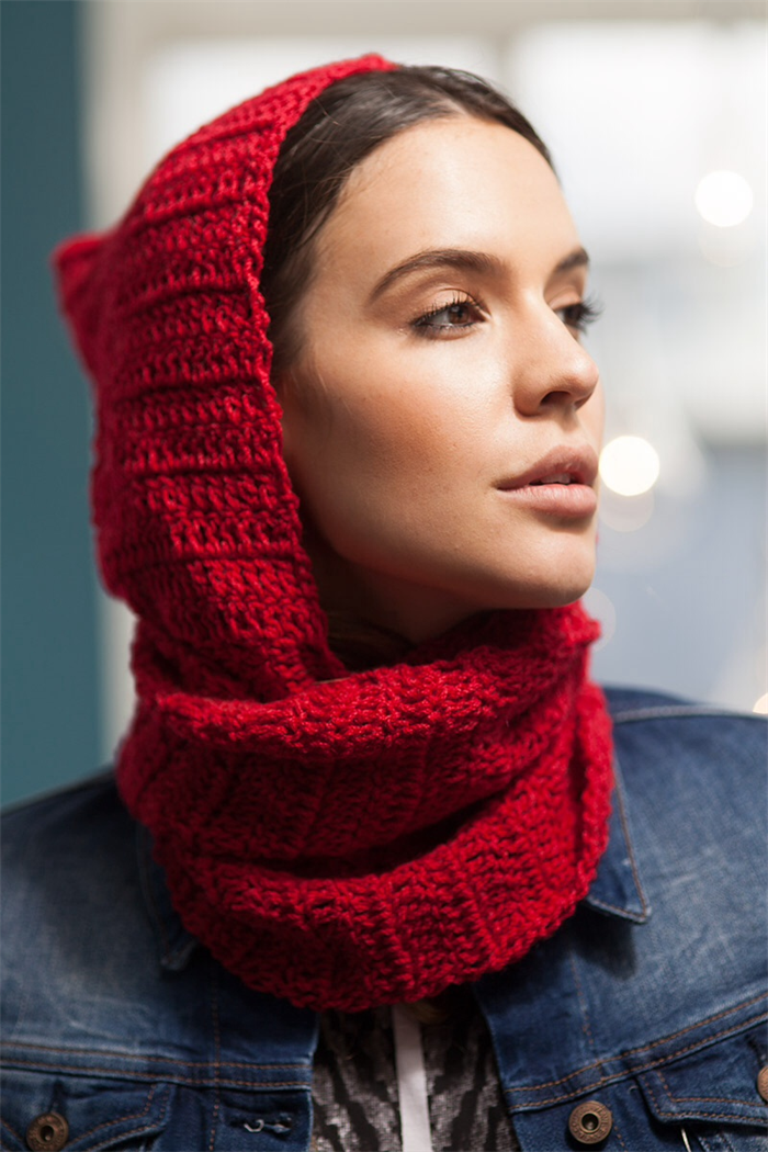 Crochet hooded cowl red scoodie ( scarf with hood) handmade hooded ...