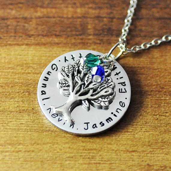 Free shipping personalized family tree name jewelrycustom any free shipping personalized family tree name jewelrycustom any names necklacepersonalized birthstone aloadofball Images