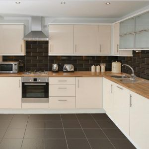 Cream Kitchen With Black Floor Tiles