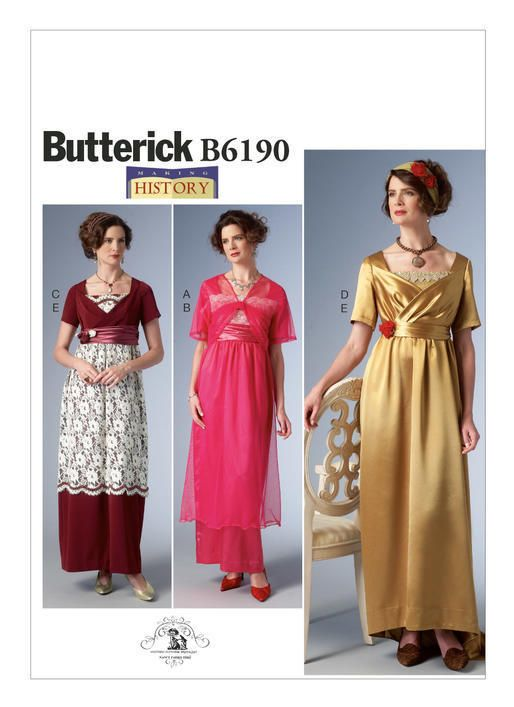 B6190 Sewing Pattern Empire Waist Dress Jacket Headbands Titanic Historic Patron