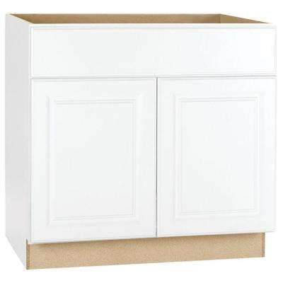 Hampton Assembled 36x34 5x24 In Sink Base Kitchen Cabinet In Satin White Home Depot Kitchen Base Cabinets Assembled Kitchen Cabinets