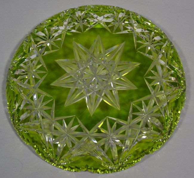 """12"""" GREEN CUT TO CLEAR ROUND TRAY : Lot 60"""