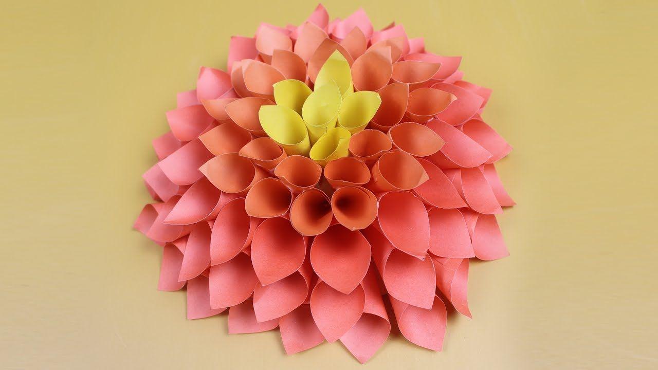 Origami Flower And Origami Dahlia Flower Paper Wall Decoration Dahlia Flower Diy Origami Blume Blumen Aus Papier Papierblumen