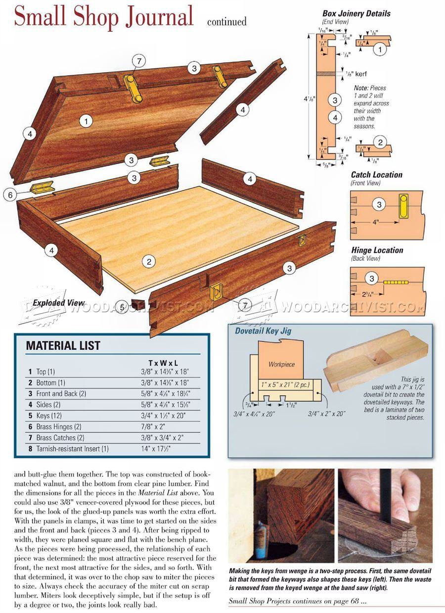 1702 silverware chest plans - other woodworking plans and