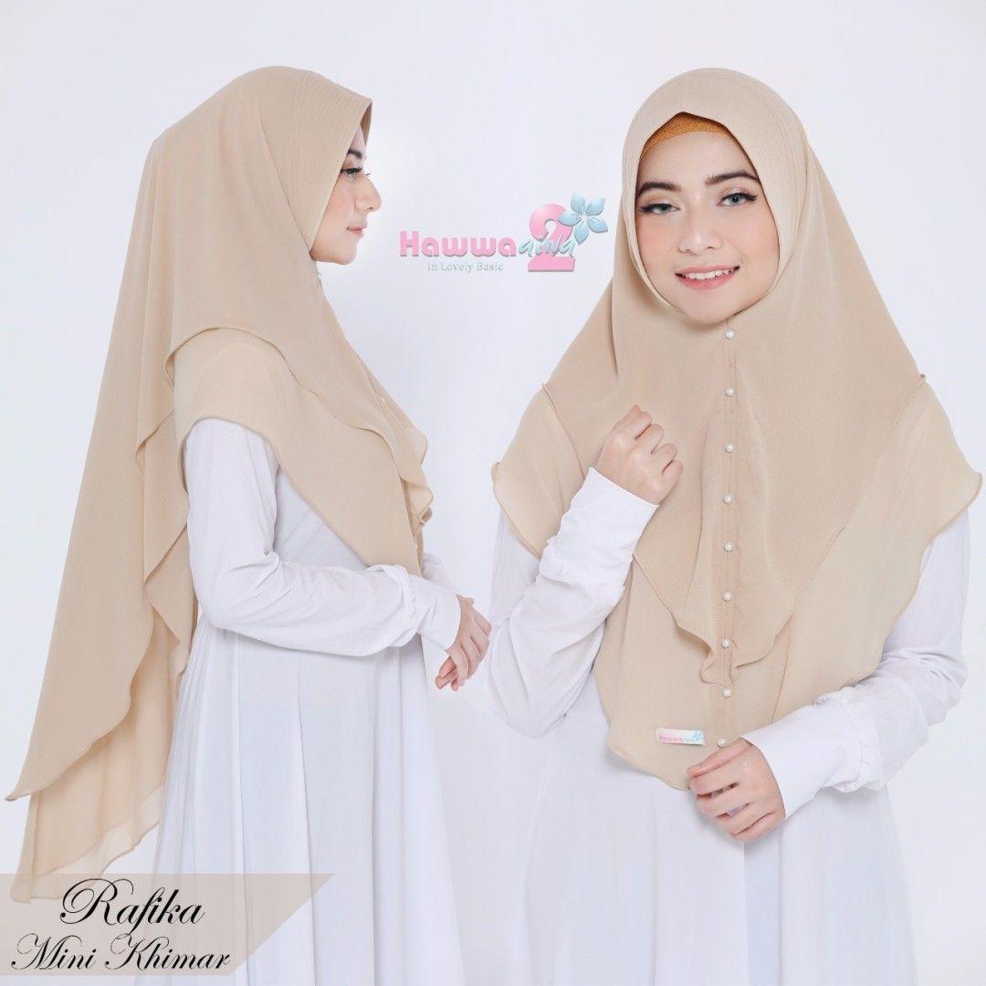 Khimar Rafika By Hawwa Aiwa Kerudung Simple 2 Lapis Bahan Ceruti Babydoll Aksen Mutiara 1 Warna Cream Kerudung Gaya Hijab Model Pakaian