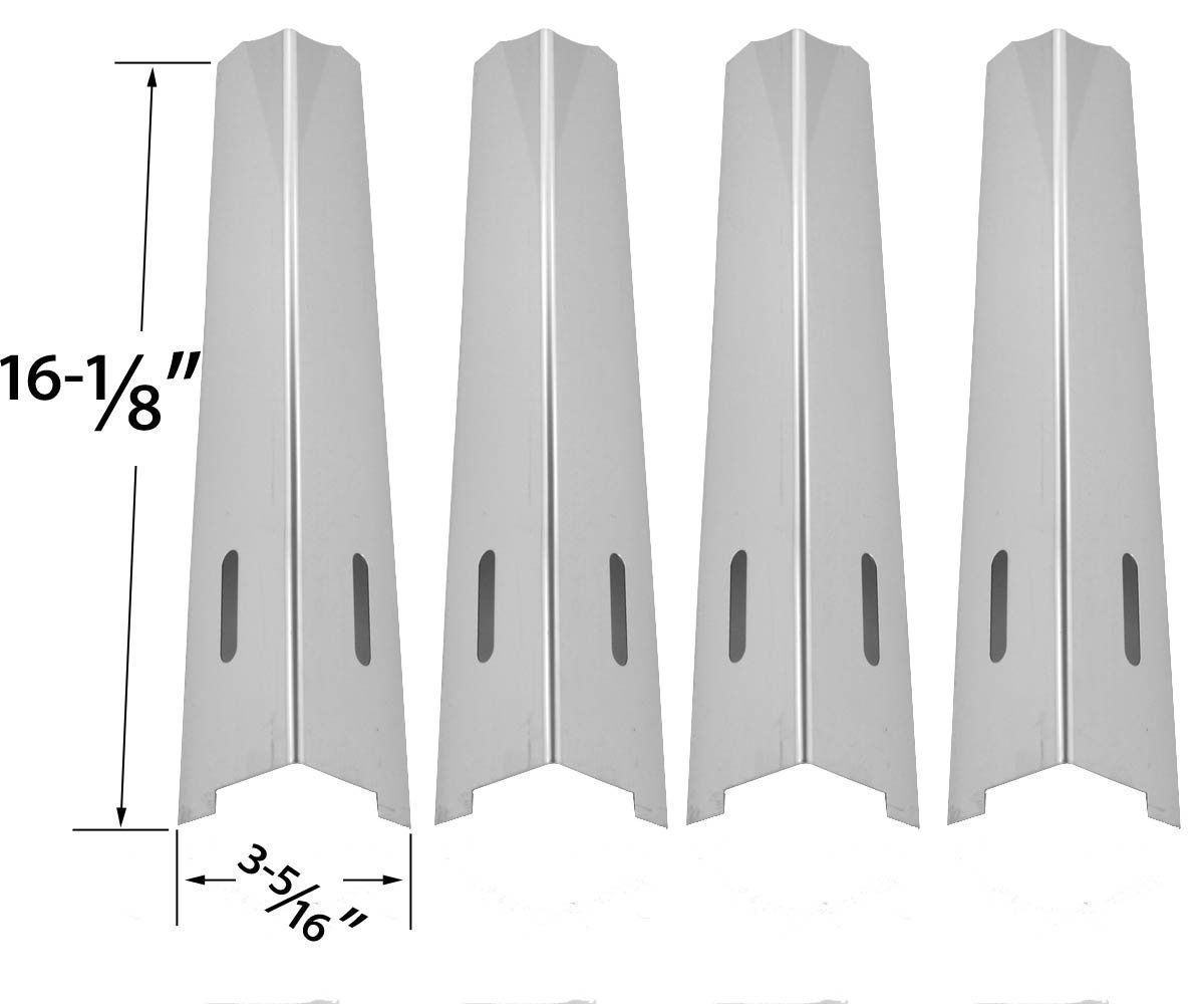 4 pack replacement stainless steel heat shield for bbqtek