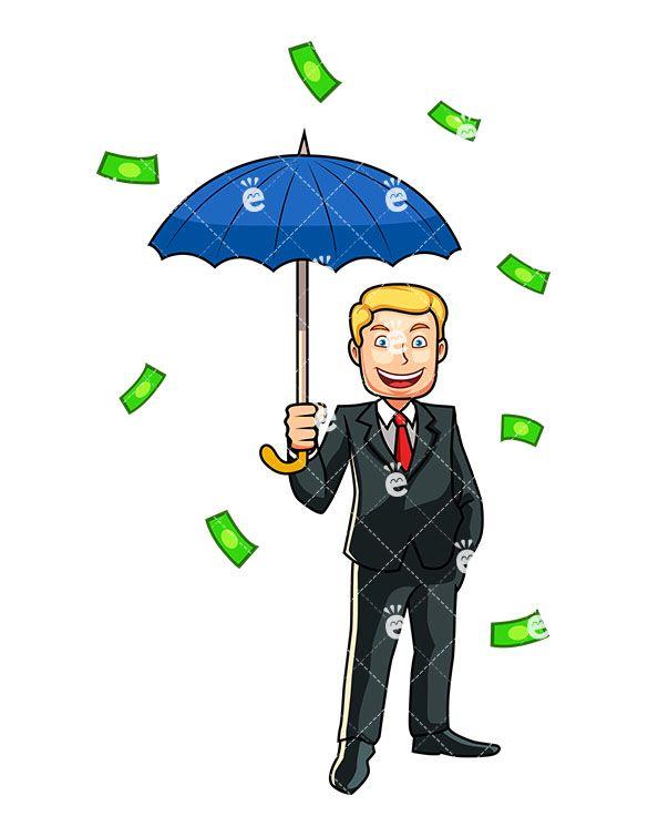 Money Raining Down A Man Cartoon Vector Clipart Friendlystock Cartoons Vector Cartoon Money Meme