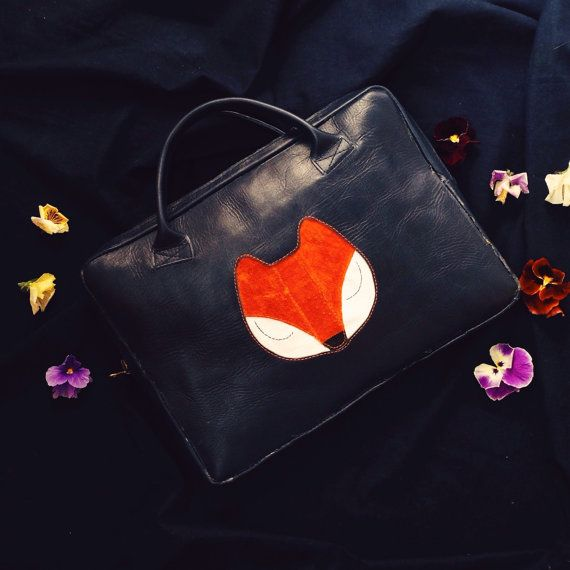 Leather Laptop Bag IPad Leather Bag Navy Blue Leather by KaroEva