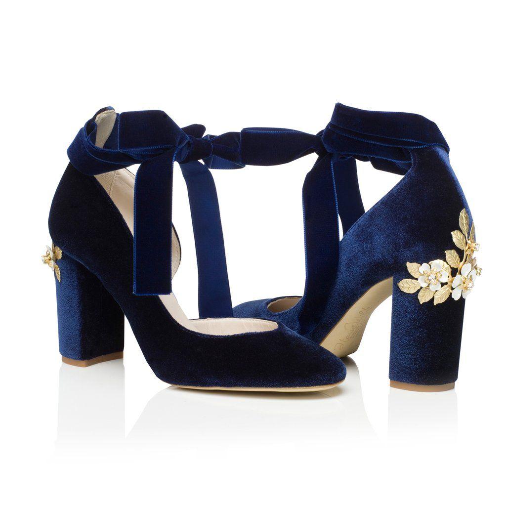 Block heel wedding shoes hetty midnight blossom blue