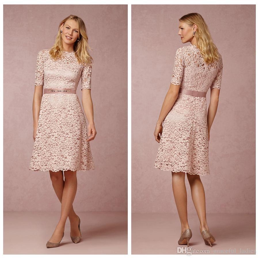 blush pink lace bridesmaid dresses short half sleeves crew