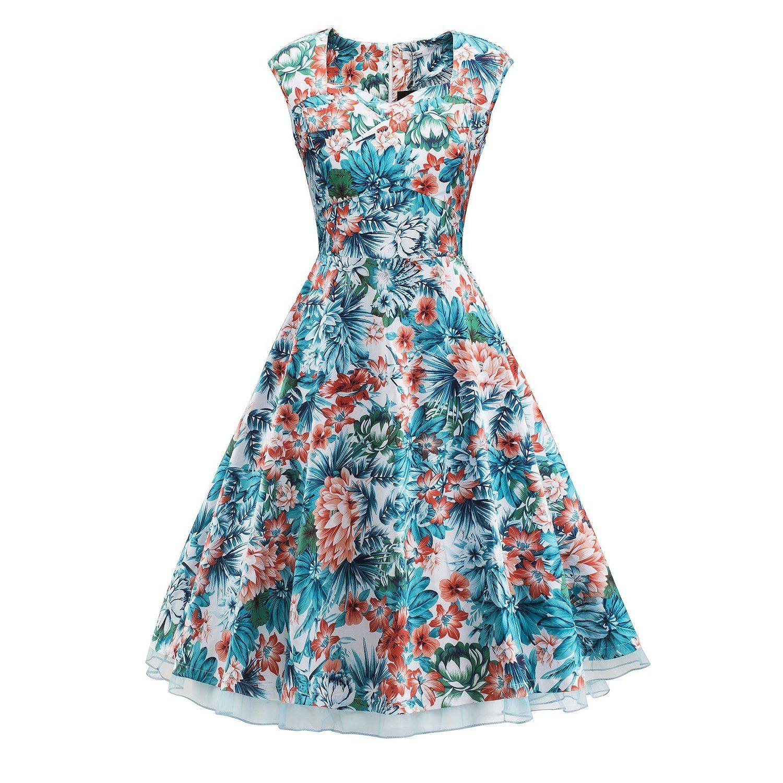 V Fashion Women 1950s Style Retro Cap Sleeve Garden Party Vintage ...