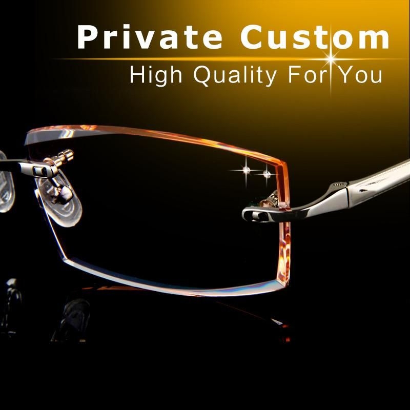 New Eyeglasses Men High Clear Lenses Rimless Fashion Brand
