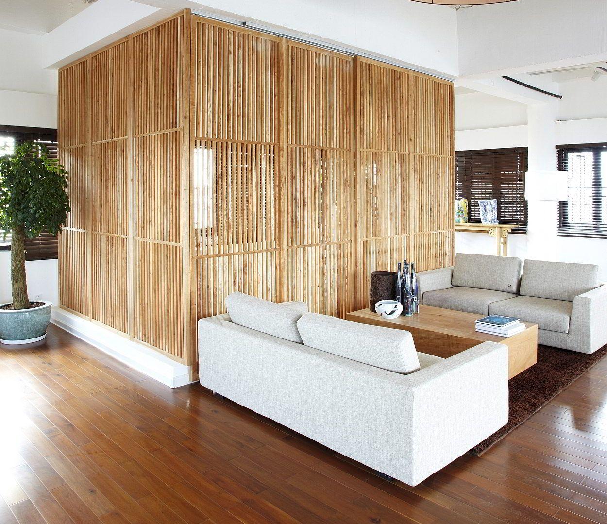Verschuifbare houten wand - japanse woonkamer | interieur ...
