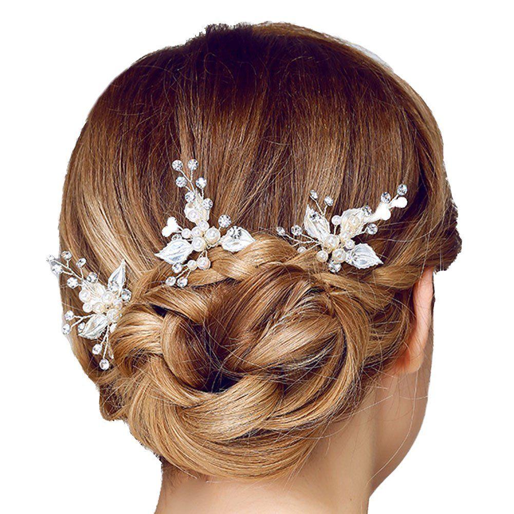 oureamod bridal headpiece hair pins silver rhinestone wedding hair