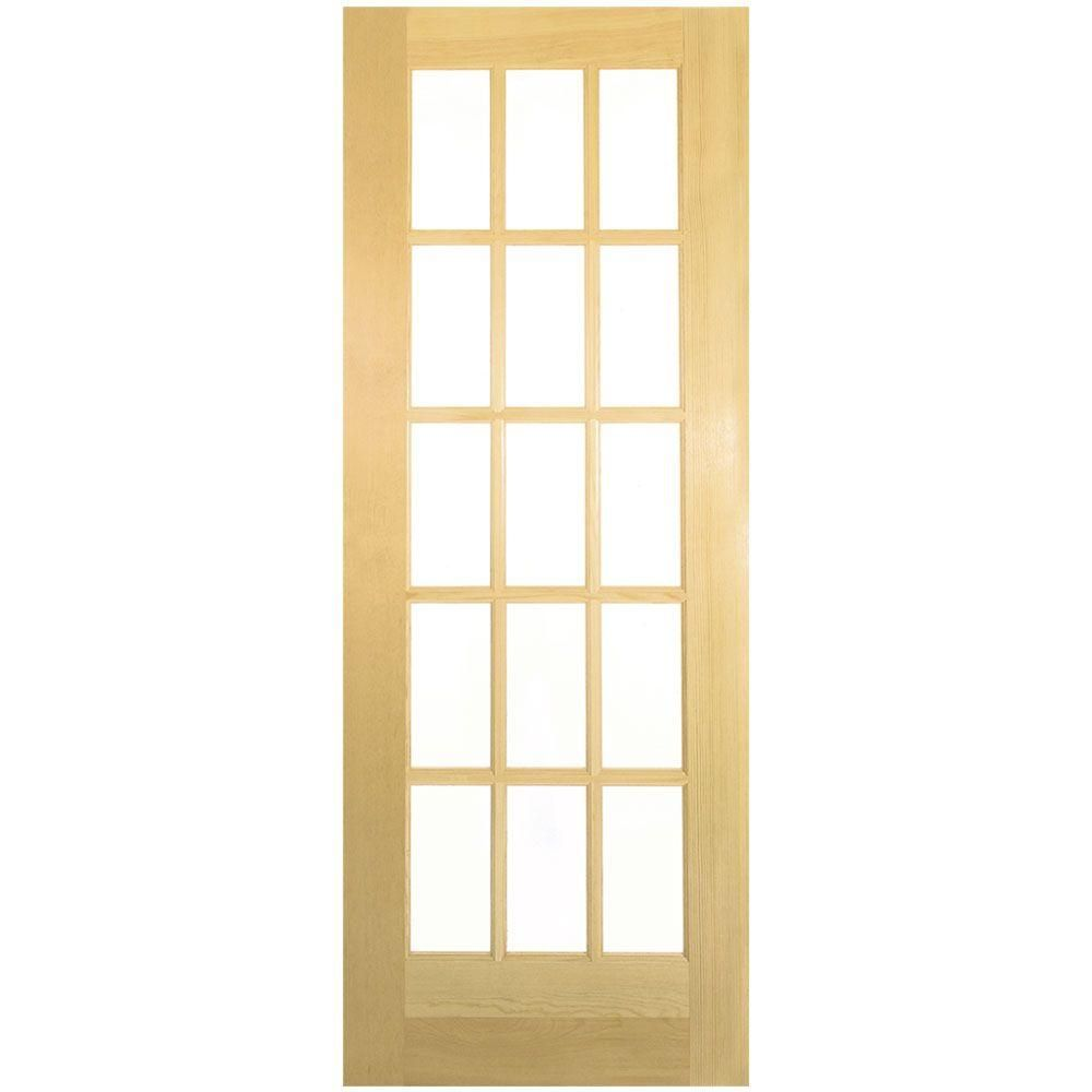Masonite Smooth 15 Lite Solid Core Unfinished Pine Interior Door Slab 255250 At The Home Dep Doors Interior French Doors Interior