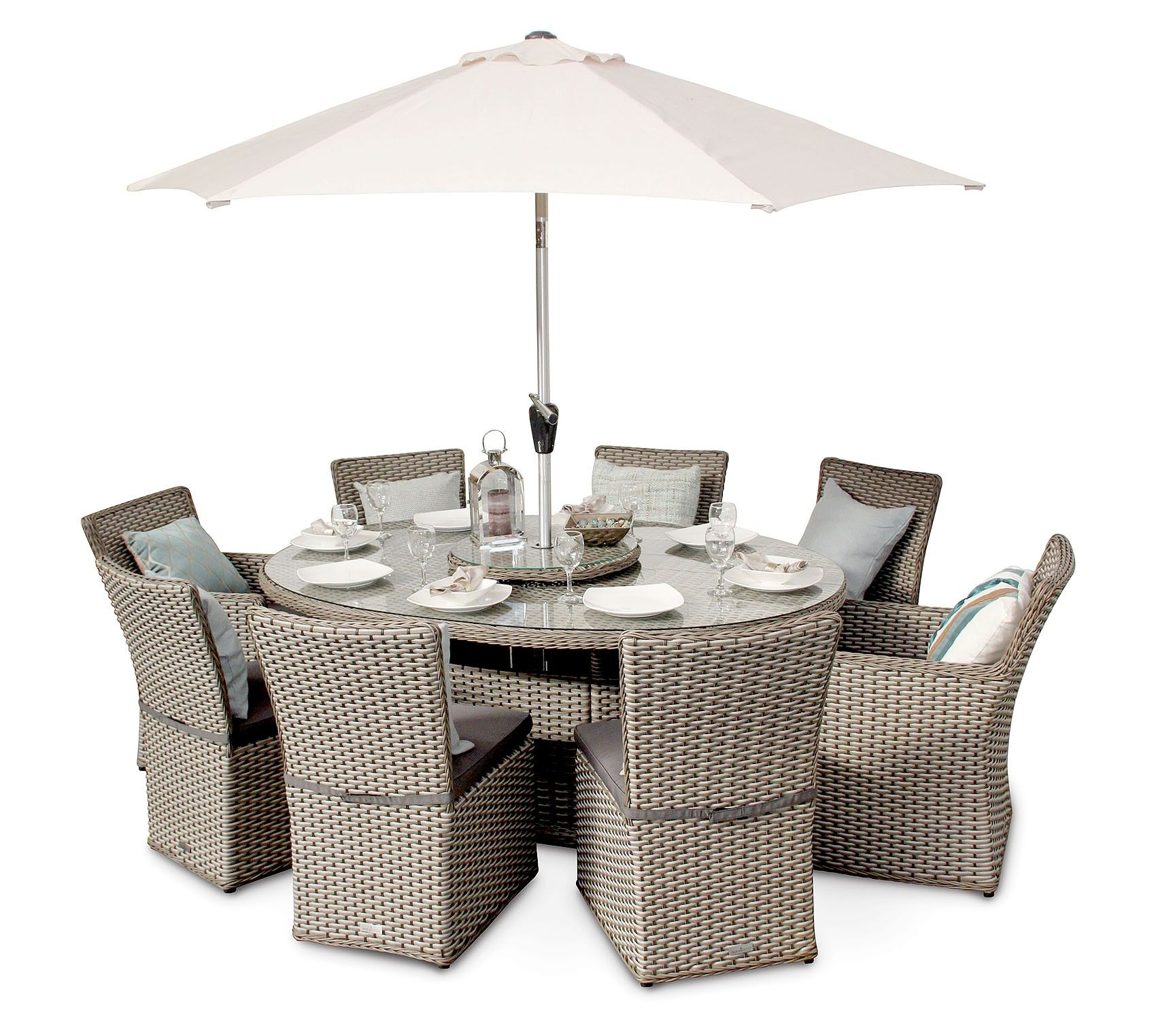 Richmond 8 Seater Rattan Oval Garden Dining Table Set Whitewash Grey
