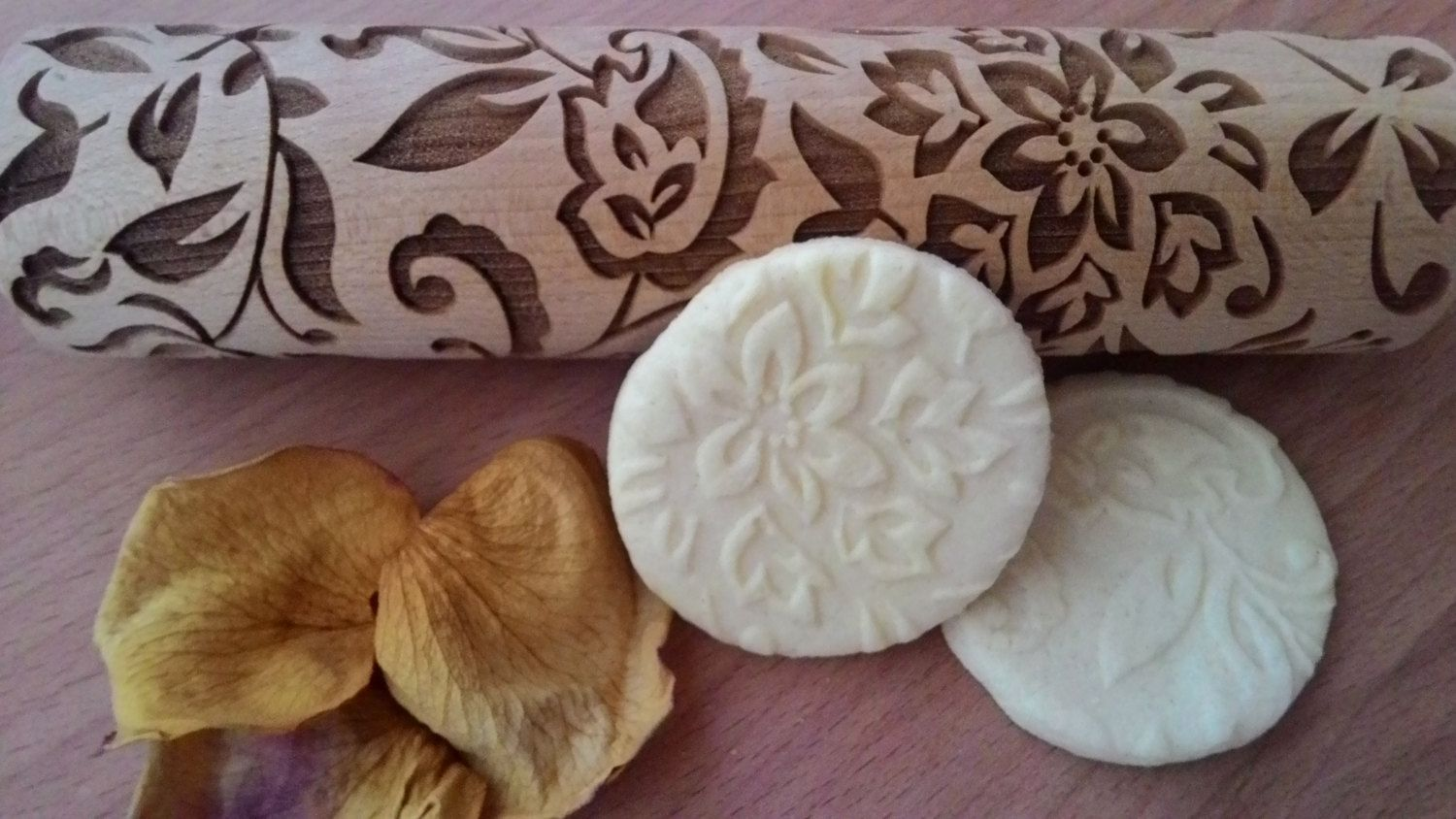 Wooden Rolling Pin Sophisticated Flover Design Pattern Laser Cut