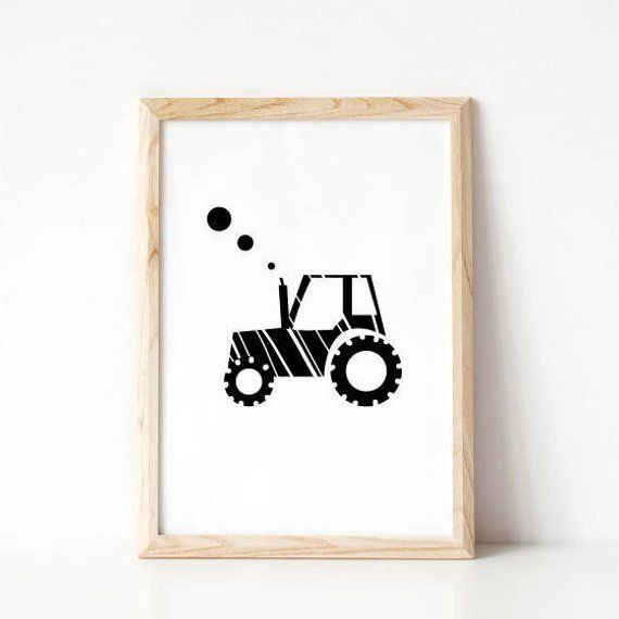 Tractor Print Black White Nursery Printable Minimalist Nursery Extraordinary Tractor Themed Bedroom Minimalist