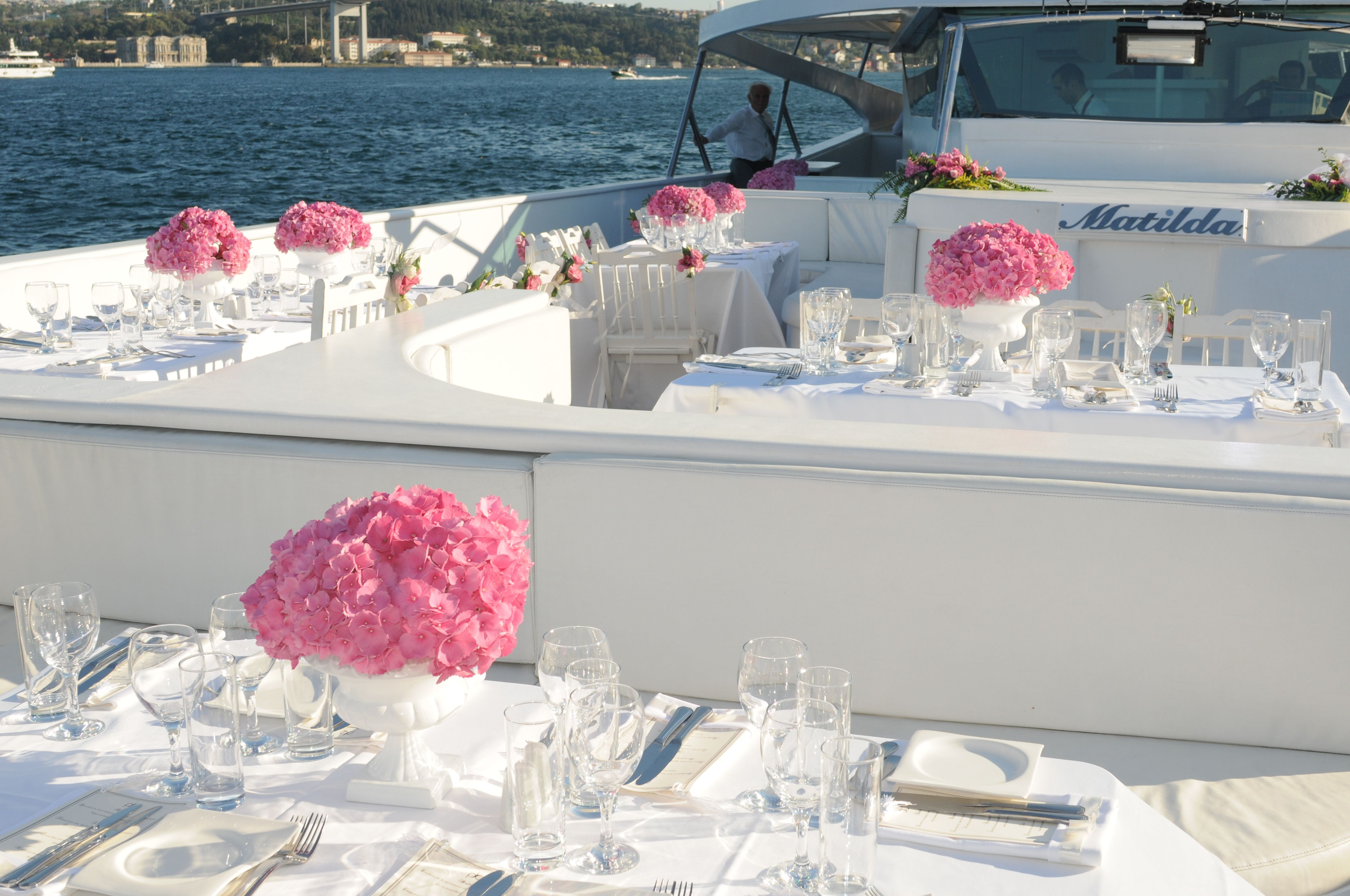 Pink And White Theme On A Luxury Boat Wedding At Bosphorus