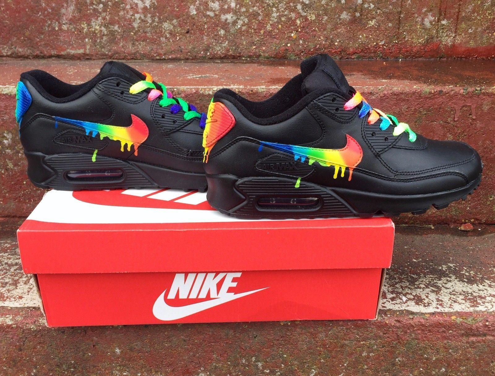 Cheap Nike Air Max 90 Candy Drip Rainbow Black Trainer Sale