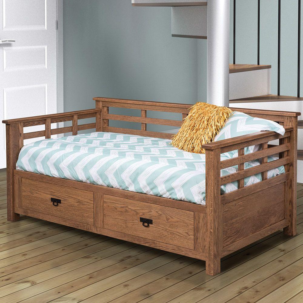 Bedroom Beds Headboards Daybeds Adison Amish Day Bed With Drawers In 2021 Bed With Drawers Bed Soft Close Drawer Slides