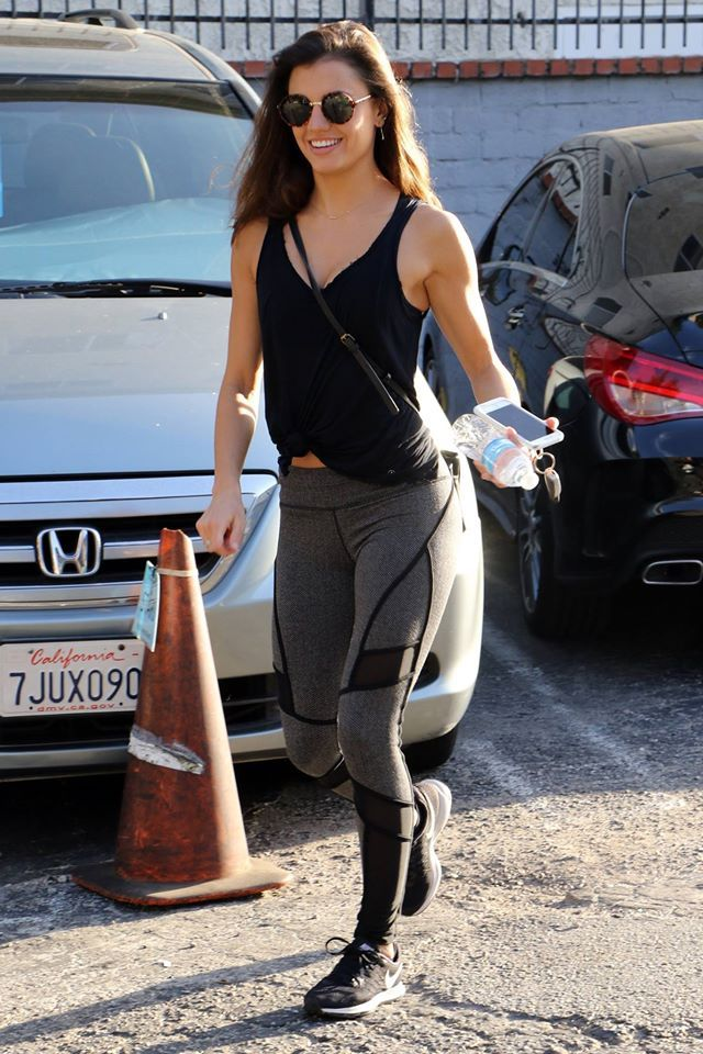 Hayley Erbert is seen wearing Nike sneakers as she makes her way to Dancing with the Stars rehearsal. #DWTS #workoutoutfit #celebspotted