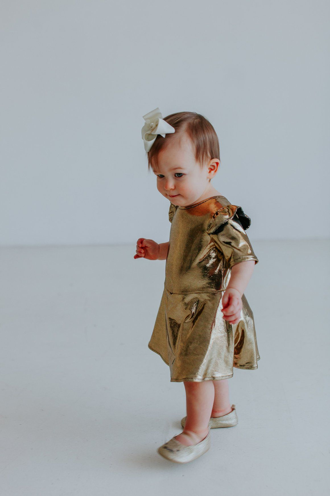 Golda Dress   Gold leotard and Babies