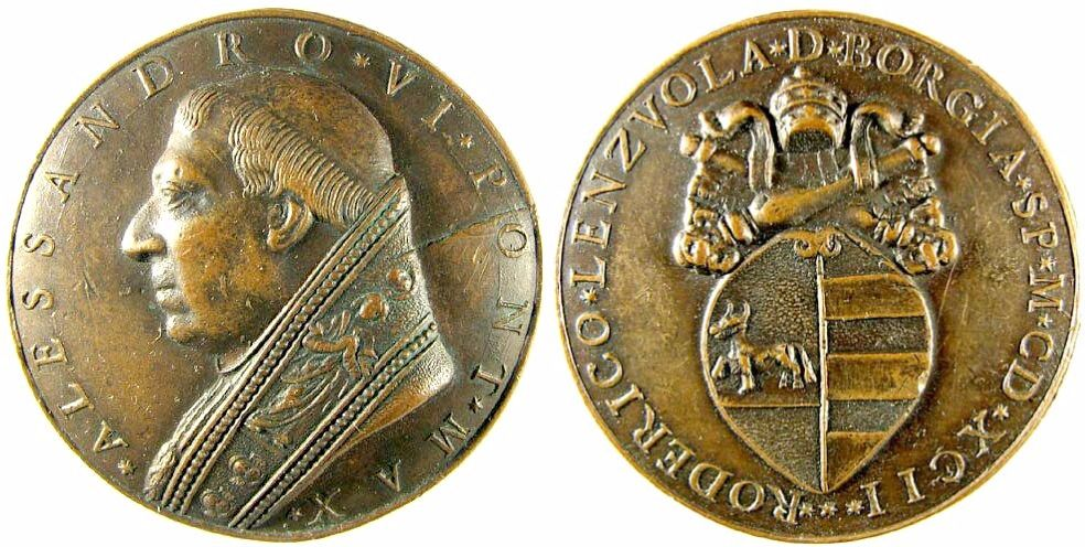 Pope Alexander Vi 1431 1503 Bust Of The Pope Rv Shield With Coat Of Arms Of The Borgia Surmounted By Tiara And Crossed Keys